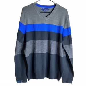 US POLO Assn. Men's V neck sweater gray blue Large